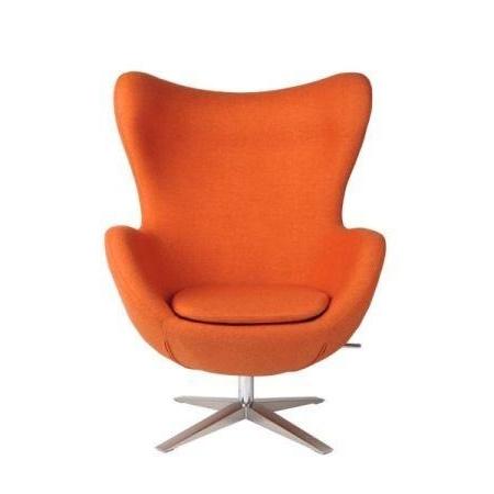 D2 Jajo Fotel inspirowany Egg szeroki tkanina 80x70x112 cm, pomarańczowy 40989