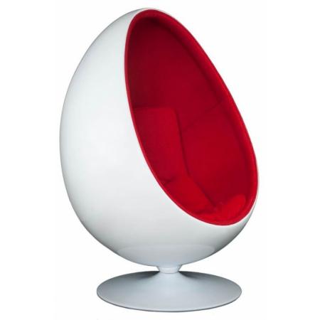 D2 Ovalia Chair Fotel inspirowany Ovalia Egg 90x80x130 cm, biały/czerwony 23573