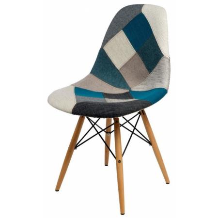 D2 P016W Krzesło inspirowane DSW patchwork 46x50 cm, szare/niebieskie 80538