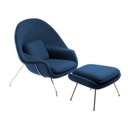 D2 Snug Fotel z podnóżkiem inspirowany Womb chair 100x90 cm, niebieski 18164