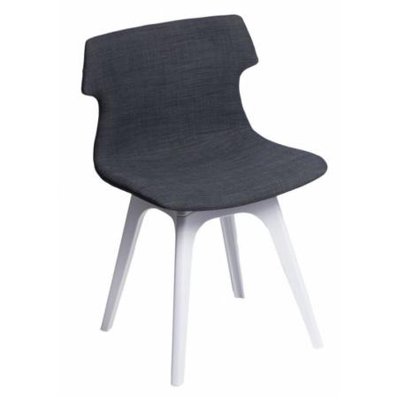 D2 Techno Krzesło tapicerowane z białą podstawą 51,5x48 cm, grafitowe 63962