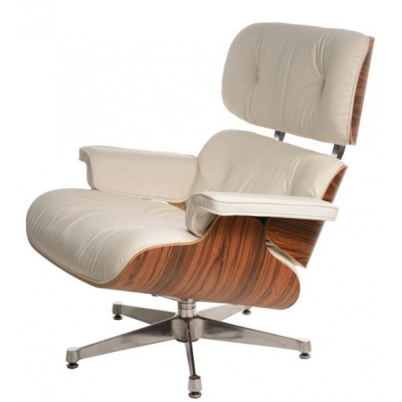 D2 Vip Fotel inspirowany Lounge Chair 87x85 cm, biały/rosewood/srebrna baza 42296