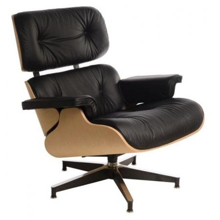 D2 Vip Fotel inspirowany Lounge Chair 87x85x80 cm, czarny/natural oak/czarna baza 42284
