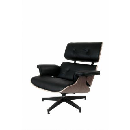 D2 Vip Fotel inspirowany Lounge Chair 87x85x80 cm, czarny/walnut/standard base 25478