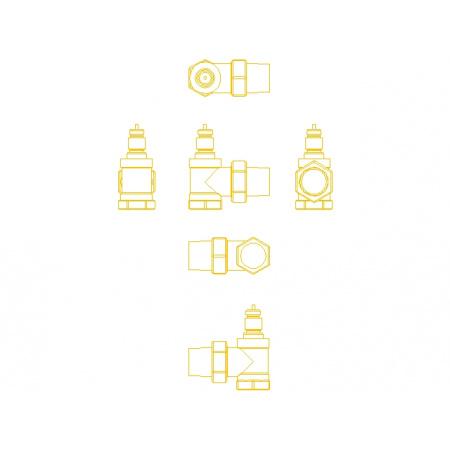 Danfoss RA-N 15 Zawór termostatyczny kątowy z nastawą wstępną KVS 0,90, 013G3903