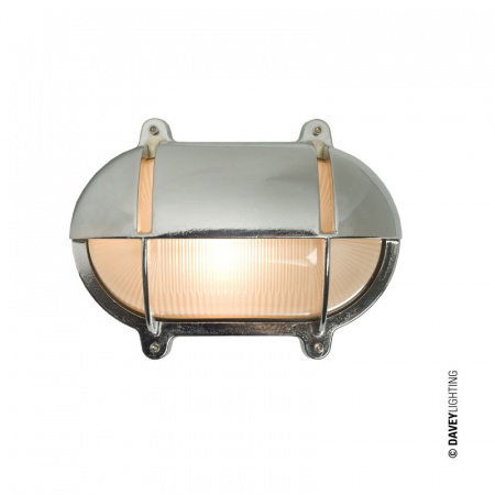 Davey Lighting Bulkhead Kinkiet 14x18,5 cm IP54 Standard E27 GLS, chrom DP7436/CP