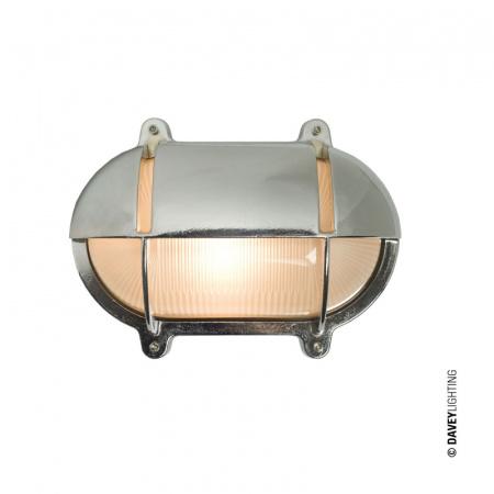 Davey Lighting Bulkhead Kinkiet 14x18,5 cm IP54 Standard E27 GLS, chrom DP7436/CP