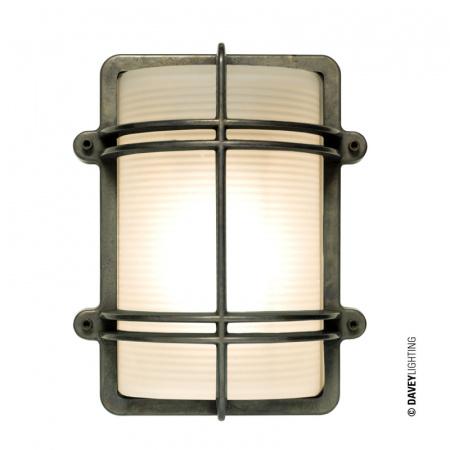 Davey Lighting Bulkhead Kinkiet 26x21 cm IP54 Standard E27 GLS, mosiężny DP7373/BR/WE