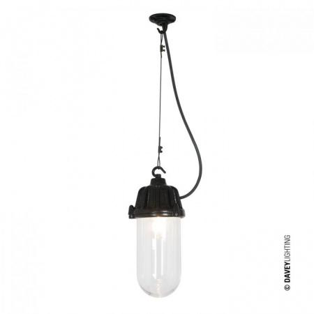 Davey Lighting Dockside Light Lampa wisząca 28x13 cm IP44 Standard E27 GLS szkło przezroczyste, czarna DP7674/PE/BL/CL