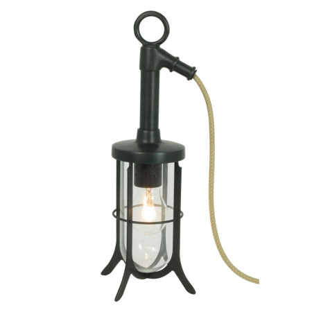 Davey Lighting Ship's Well Glass Lampa stołowa 37x15 cm IP20 Standard E27 GLS, mosiężna DP7523/BR/WE/CL