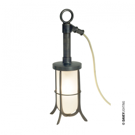 Davey Lighting Ship's Well Glass Lampa stołowa 37x15 cm IP20 Standard E27 GLS, mosiężna DP7523/BR/WE/FR