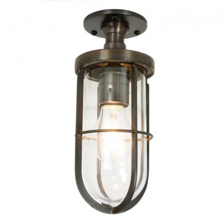 Davey Lighting Ship's Well Glass Lampa sufitowa 25x10 cm IP54 Standard E27 GLS, mosiężna DP7204/BR/CL/WE/E27
