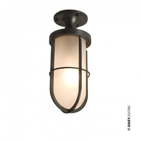 Davey Lighting Ship's Well Glass Lampa sufitowa 25x10 cm IP54 Standard E27 GLS, mosiężna DP7204/BR/FR/WE/E27