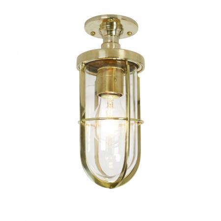 Davey Lighting Ship's Well Glass Lampa sufitowa 25x10 cm IP54 Standard E27 GLS, mosiężna polerowana DP7204/BR/CL/E27