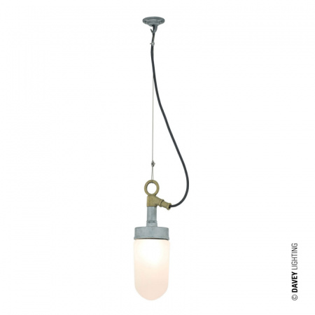 Davey Lighting Well Glass Lampa wisząca 36,5x31 cm IP44 Standard E27 GLS szkło matowe, srebrna DP7679/GA/FR/IP44