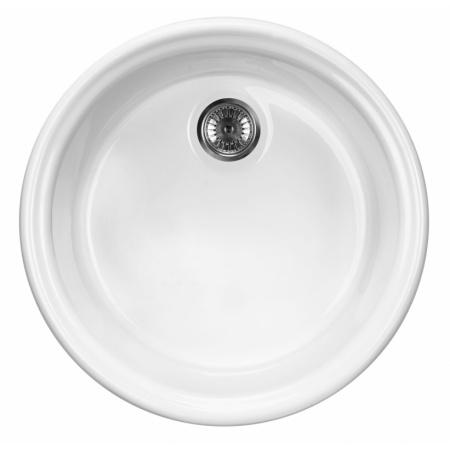 Deante Lusitano Zlewozmywak ceramiczny 1-komorowy 44,5 cm bez ociekacza, biały ZCL680N