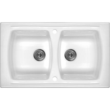 Deante Lusitano Zlewozmywak ceramiczny 2-komorowy 100x50 cm bez ociekacza, biały ZCL620N