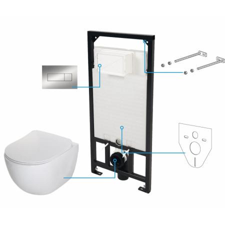 Deante Peonia Zero Zestaw 6w1 Toaleta WC podwieszana bez kołnierza z deską wolnoopadającą Slim, stelażem i przyciskiem, biały CDES6ZPW