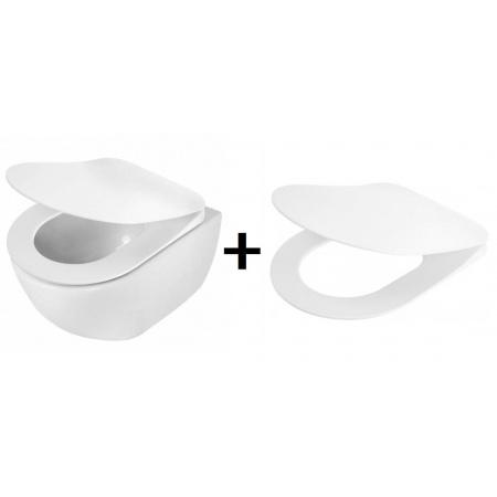 Deante Peonia Zero Zestaw Toaleta WC podwieszana 51x36 cm bez kołnierza z deską sedesową wolnoopadającą Slim, biały CDE6ZPW+CDE6SOZ