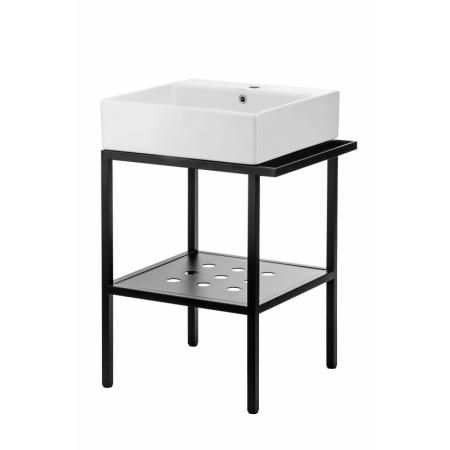 Deante Temisto Umywalka nablatowa 50x50 cm z konsolą łazienkową, biały/czarny CDTS6U5S
