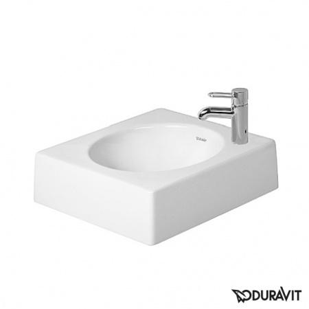 Duravit Architec Umywalka nablatowa 45x45 cm, otwór na baterię z prawej strony, biała 0320450008