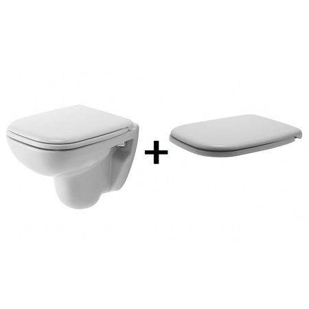 Duravit D-Code Zestaw Toaleta WC podwieszana 48x35 cm Compact z deską sedesową wolnoopadającą, biały 22110900002+0067390000