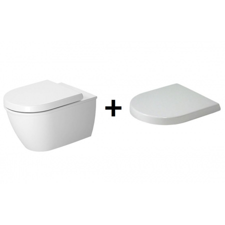 Duravit Darling New Zestaw Toaleta WC podwieszana 54x36,5 cm z deską sedesową wolnoopadającą, biały 2545092000+0069890000