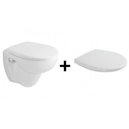 Duravit Duraplus Toaletowa WC podwieszana 36x46 cm Compact krótka z deską sedesową zwykłą, biała 0228090000+0066810000