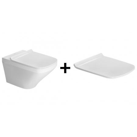 Duravit DuraStyle Zestaw Toaleta WC podwieszana 54x37 cm Rimless bez kołnierza z deską sedesową wolnoopadającą, biały 45510900A1 (2551090000+006379000)