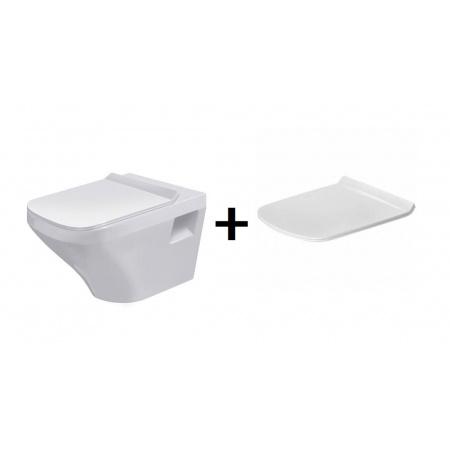 Duravit DuraStyle Zestaw Toaleta WC podwieszana 54x37 cm Rimless bez kołnierza z deską sedesową wolnoopadającą, biały 2538090000+0063790000