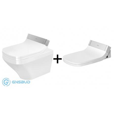 Duravit DuraStyle Zestaw Toaleta WC podwieszana 62x37 cm Rimless bez kołnierza z deską sedesową myjącą SensoWash, biały 2542590000+610200002004300
