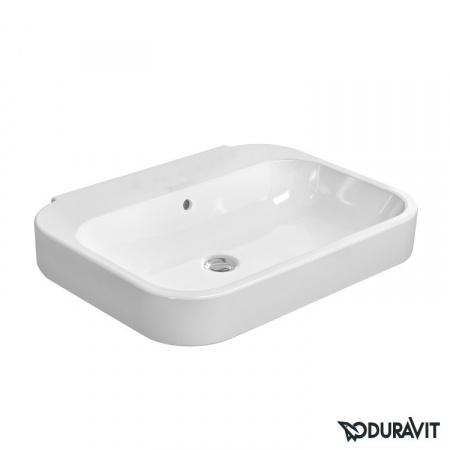 Duravit Happy D.2 Umywalka wisząca 60x47,5 cm, bez otworu na baterie, z przelewem, biała z powłoką WonderGliss 23166000601