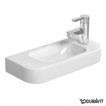 Duravit Happy D.2 Umywalka wisząca mała 50x22 cm, z otworem na baterię z prawej strony, bez przelewu, biała z powłoką WonderGliss 07115000081