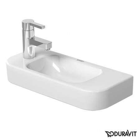 Duravit Happy D.2 Umywalka wisząca mała 50x22 cm, z otworem na baterię z lewej strony, bez przelewu, biała 0711500009
