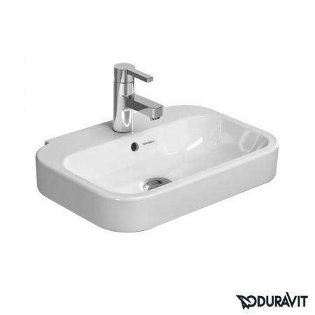 Duravit Happy D.2 Umywalka wisząca mała 50x36 cm, z jednym otworem na baterię, z przelewem, biała z powłoką WonderGliss 07095000001
