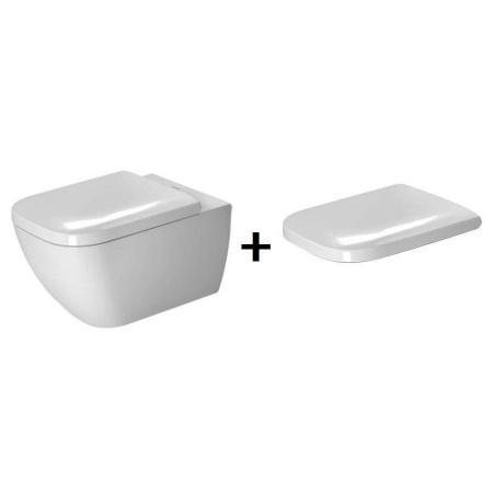 Duravit Happy D.2 Zestaw Toaleta WC podwieszana 54x36,5 cm Rimless bez kołnierza WonderGliss z deską sedesową wolnoopadającą, biały 22220900001+0064590000