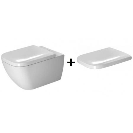 Duravit Happy D.2 Zestaw Toaleta WC podwieszana 54x36,5 cm WonderGliss z deską sedesową wolnoopadającą, biały 22210900001+0064510000
