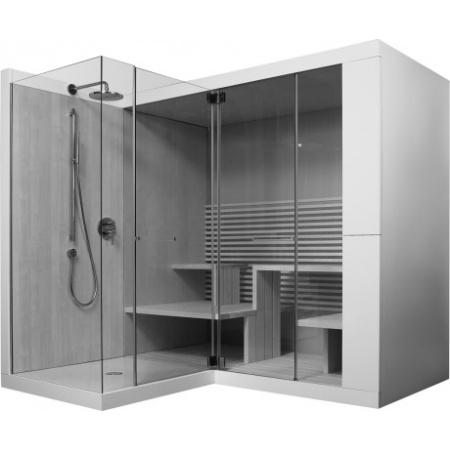 Duravit Inipi Ama Sauna przyścienna i narożna 235x220,5x222 cm, z powłoką Antislip, orzech amerykański 750313002011001