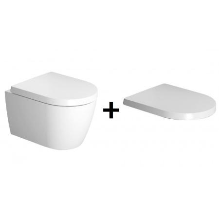 Duravit ME by Starck Zestaw Toaleta WC podwieszana 48x37 cm Compact Rimless bez kołnierza z deską sedesową wolnoopadającą, biały 45300900A1