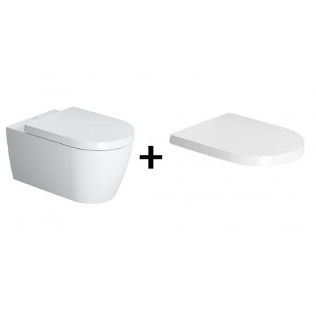 Duravit ME by Starck Zestaw Toaleta WC podwieszana 57x37 cm Rimless bez kołnierza z deską sedesową wolnoopadającą, biały 2529090000+0020090000