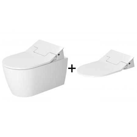 Duravit ME by Starck Zestaw Toaleta WC podwieszana 57x37 cm Rimless bez kołnierza z deską wolnoopadającą z funkcją bidetu biała 2529590000+611000002304300