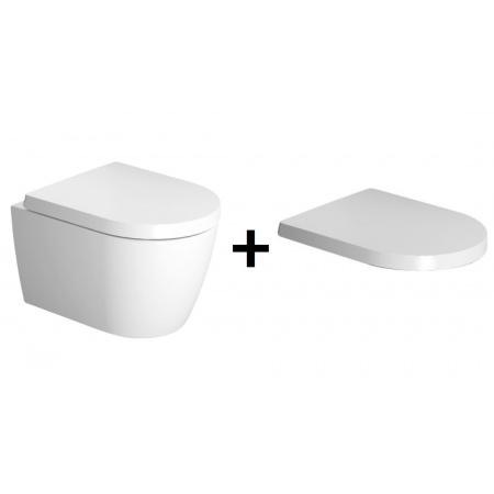 Duravit ME by Starck Zestaw Toaleta WC podwieszana 37x48 cm Compact Rimlessz deską sedesową wolnoopadającą, biały 2530090000+0020190000