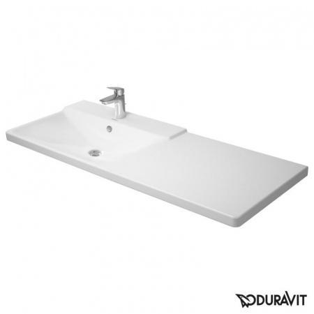 Duravit P3 Comforts Umywalka meblowa asymetryczna 125x50 cm, z jednym otworem na baterię, z przelewem, biała 2333120000