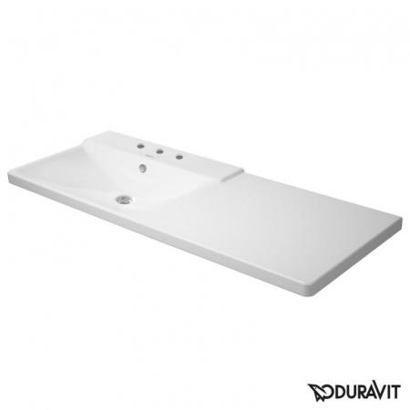 Duravit P3 Comforts Umywalka meblowa asymetryczna 125x50 cm z 3 otworami na baterię z przelewem biała 2333120030