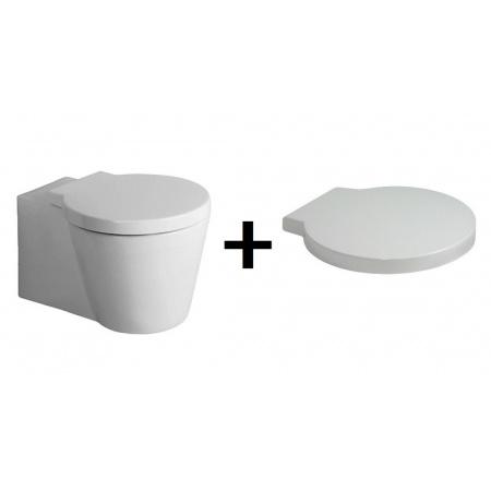 Duravit Starck 1 Zestaw Toaleta WC podwieszana 57,5x41 cm z deską sedesową wolnoopadającą, biały 0210090064+0065880099