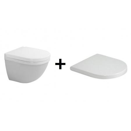 Duravit Starck 3 Zestaw Toaleta WC podwieszana 48,5x36 cm Compact z deską sedesową zwykłą, biały 2227090000+0063810000