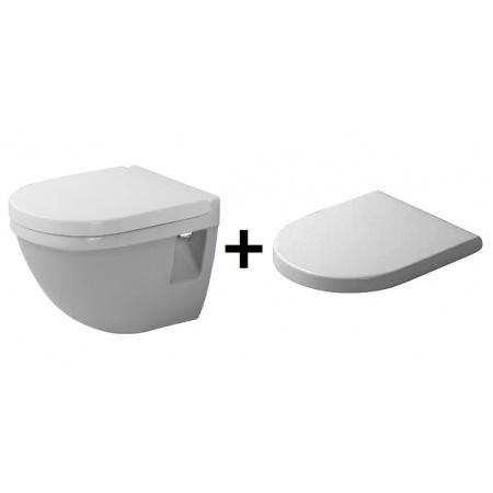 Duravit Starck 3 Zestaw Toaleta WC podwieszana 36x48,5 cm Compact krótka z deską wolnoopadającą, biała 2202090000+0063890000