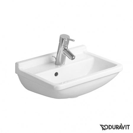 Duravit Starck 3 Umywalka mała 45x32 cm, z jednym otworem na baterię, biała z powłoką WonderGliss 07504500001
