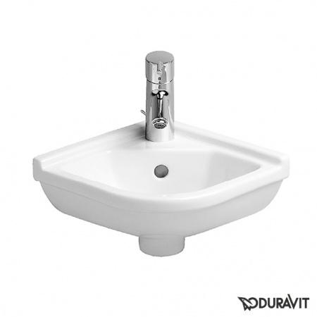 Duravit Starck 3 Umywalka mała narożna 43x38 cm, z jednym otworem na baterię, biała z powłoką WonderGliss 07524400001