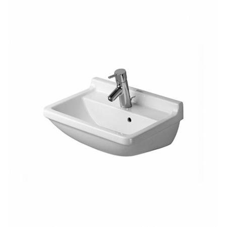 Duravit Starck 3 Umywalka z przelewem 50x36 cm, z jednym otworem na baterię, biała z powłoką WonderGliss 03005000001